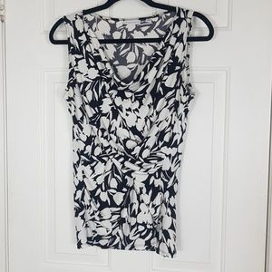 Black and White New York & Co. Sleeveless Blouse